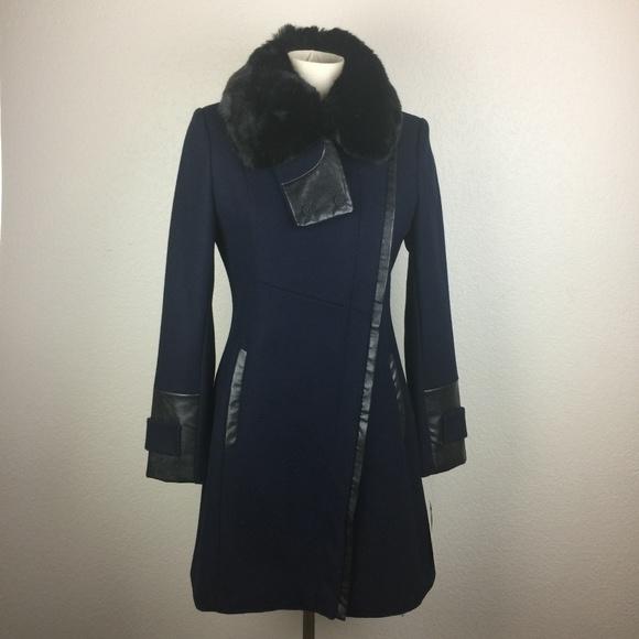 Via Spiga Jackets & Blazers - Via Spiga Leather & Faux Fur Trimmed Coat sz 4